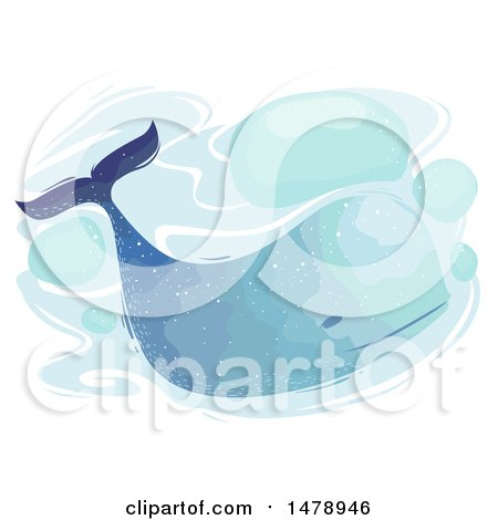 Clipart of a Watercolor Painted Whale - Royalty Free Vector Illustration by BNP Design Studio
