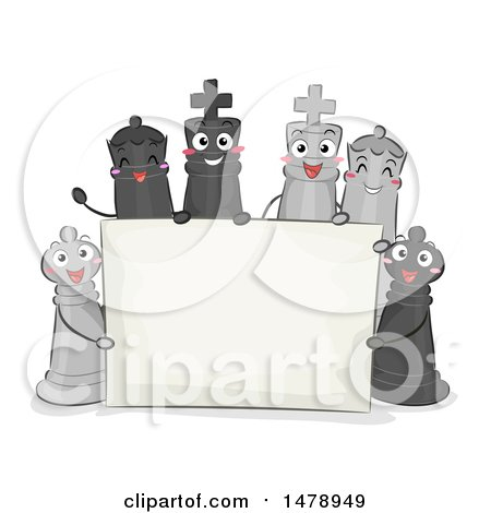 Clipart of a Blank Sign with Chess Pieces - Royalty Free Vector Illustration by BNP Design Studio