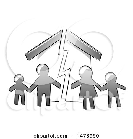Clipart of a Grayscale Family over a Broken Home - Royalty Free Vector Illustration by BNP Design Studio