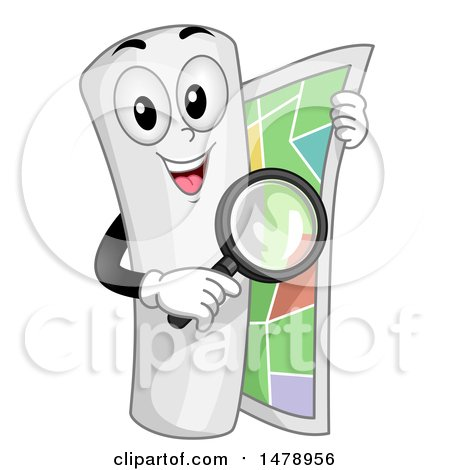 Clipart of a Curled up Map Mascot Holding a Magnifying Glass and Unrolling Itself - Royalty Free Vector Illustration by BNP Design Studio