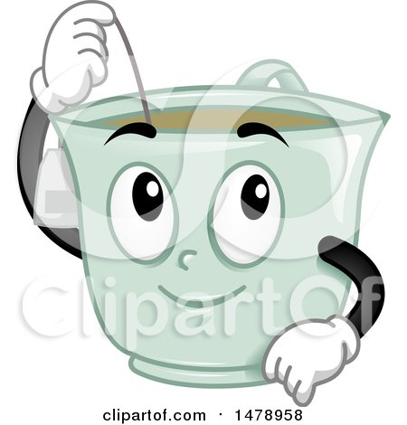 Clipart of a Tea Cup Mascot Dipping a Bag - Royalty Free Vector Illustration by BNP Design Studio