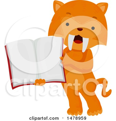 Clipart of a Student Saber Tooth Tiger Holding an Open Book - Royalty Free Vector Illustration by BNP Design Studio