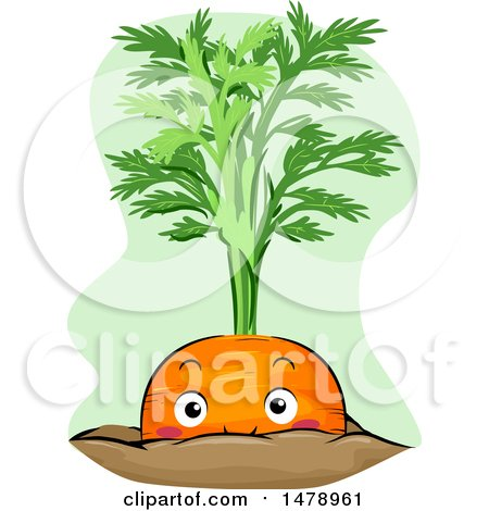 Clipart of a Carrot Mascot Peeking from Soil - Royalty Free Vector Illustration by BNP Design Studio