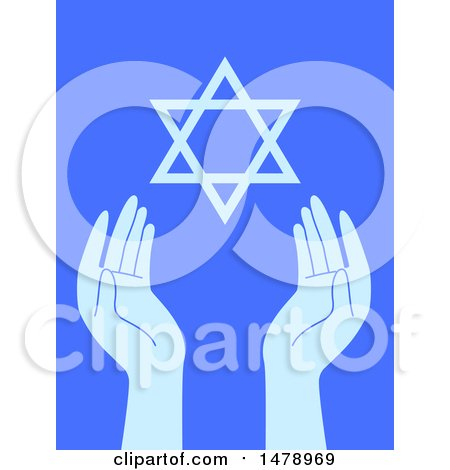 Clipart of a Pair of Hands and the Star of David on Blue - Royalty Free Vector Illustration by BNP Design Studio