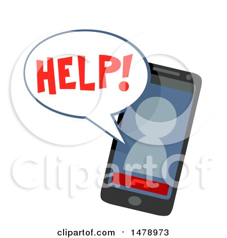 Clipart of a Smart Phone with an Avatar Asking for Help - Royalty Free Vector Illustration by BNP Design Studio
