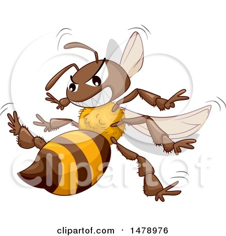 Clipart of a Stinging Angry Bee - Royalty Free Vector Illustration by BNP Design Studio