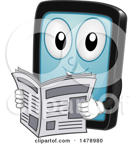 Clipart of a Smart Phone or Tablet Mascot Reading a Newspaper - Royalty Free Vector Illustration by BNP Design Studio