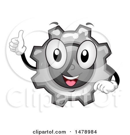 Clipart of a Gear Cog Wheel Mascot Giving a Thumb up - Royalty Free Vector Illustration by BNP Design Studio