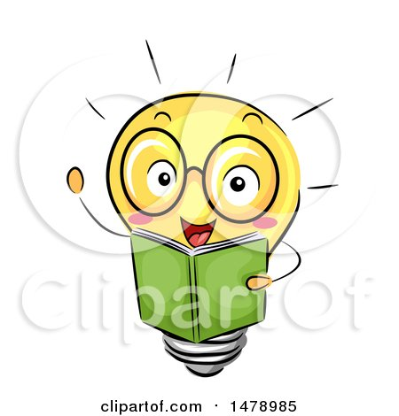 Clipart of a Light Bulb Mascot Reading a Book - Royalty Free Vector Illustration by BNP Design Studio