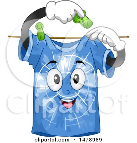 Clipart of a Blue Tie Dye Shirt Pinning Itself to a Clothesline - Royalty Free Vector Illustration by BNP Design Studio