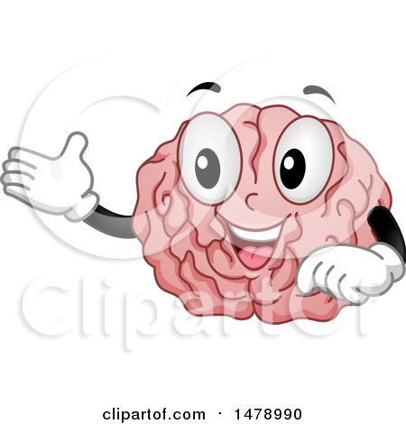 Clipart of a Happy Brain Mascot Presenting - Royalty Free Vector Illustration by BNP Design Studio