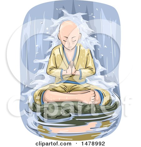 Clipart of a Buddhist Man Meditating in a Waterfall - Royalty Free Vector Illustration by BNP Design Studio