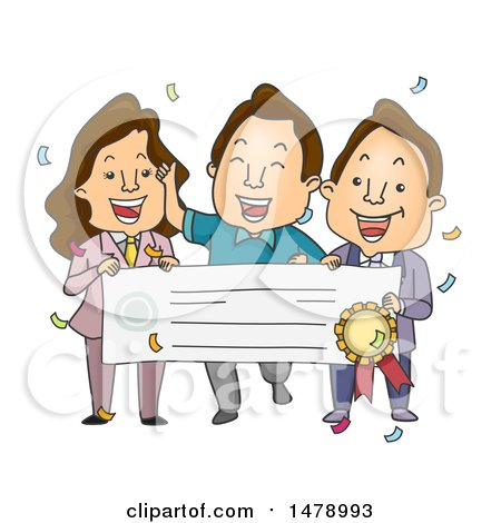 Clipart of a Male Winner and Presenters Holding up a Giant Check - Royalty Free Vector Illustration by BNP Design Studio