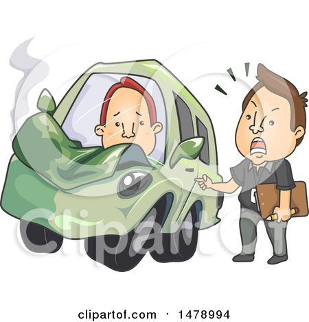 Clipart of a Driving Instructor Lecturing a Student Driver After an Accident - Royalty Free Vector Illustration by BNP Design Studio