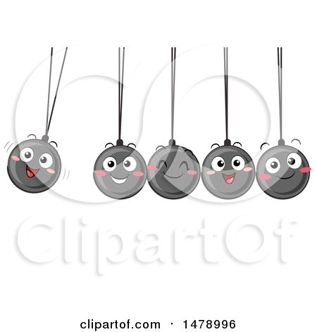 Clipart of a Group of Happy Newtons Cradle Balls Swinging - Royalty Free Vector Illustration by BNP Design Studio