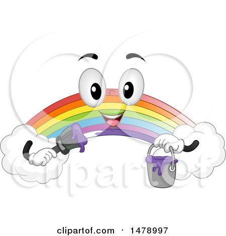 Clipart of a Rainbow Mascot Holding a Purple Paint Can and Brush - Royalty Free Vector Illustration by BNP Design Studio
