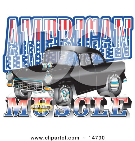 """Black 1955 Chevy Muscle Car With Text Reading """"American Muscle"""" With Stars And Stripes Posters, Art Prints"""