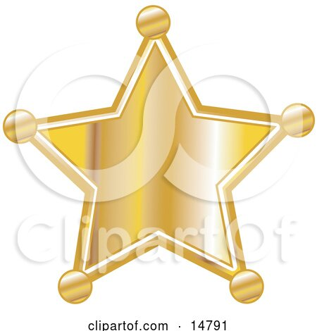 Golden Star Shaped Sheriff's Badge Clipart Illustration by Andy Nortnik