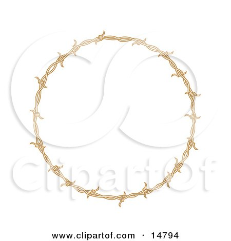 Circular Border Frame Of Barbed Wire Over A White Background Clipart Illustration by Andy Nortnik