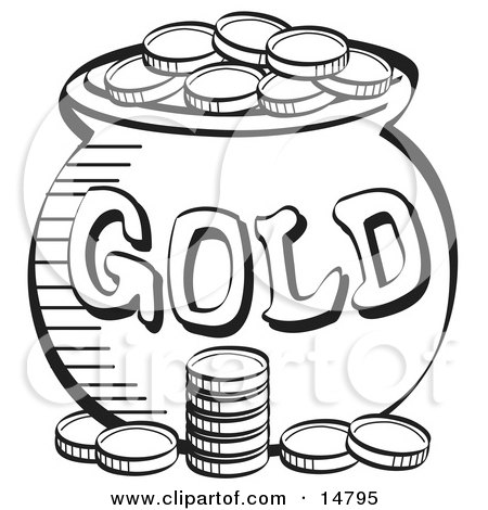 Stack Of Coins Near A Pot Of Leprechaun's Gold, Black and White Clipart Illustration by Andy Nortnik