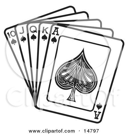 Hand Of Cards Showing A 10 Jack Queen King And Ace Of Spades Clipart Illustration