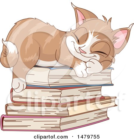Clipart of a Cute Kitten Sleeping on a Stack of Books - Royalty Free Vector Illustration by Pushkin