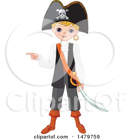 Clipart of a Boy Pointing in a Halloween Pirate Costume - Royalty Free Vector Illustration by Pushkin