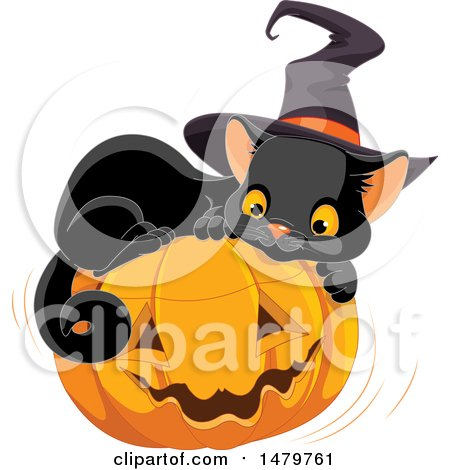 Clipart of a Cute Black Witch Cat Resting on a Halloween Jackolantern Pumpkin - Royalty Free Vector Illustration by Pushkin