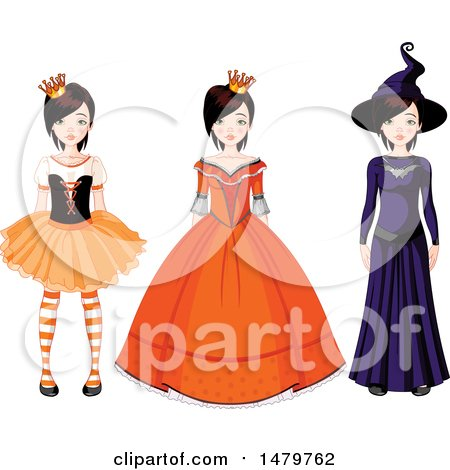 Clipart of a Teen Girl in Halloween Princess, Queen and Witch Costumes - Royalty Free Vector Illustration by Pushkin