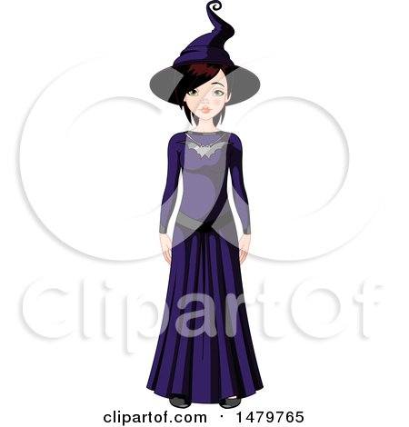 Clipart of a Teen Girl in a Halloween Witch Costume - Royalty Free Vector Illustration by Pushkin