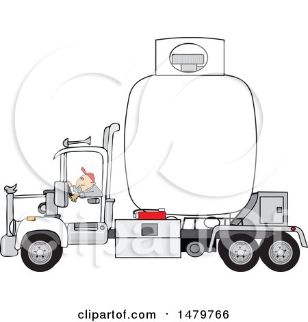 Clipart of a Trucker Hauling a Propane Tanker - Royalty Free Vector Illustration by djart