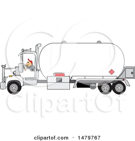 Clipart of a Trucker Driving a Propane Tanker - Royalty Free Vector Illustration by djart