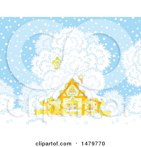 Clipart of a Wooden Cottage on a Winter Day - Royalty Free Vector Illustration by Alex Bannykh