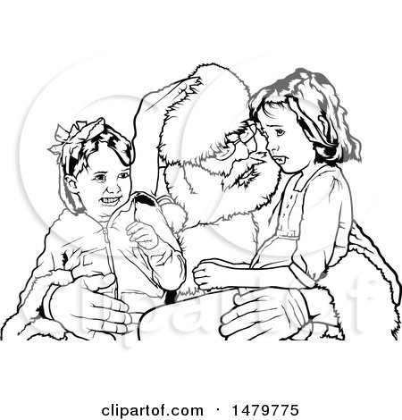 Clipart of a Lineart Happy Boy Sitting on Santa 39 s Lap with