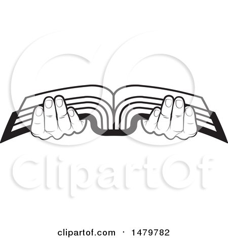 Clipart of a Pair of Black and White Hands Holding an Open Book - Royalty Free Vector Illustration by Lal Perera