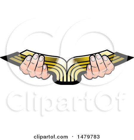 Clipart of a Pair of Hands Holding an Open Golden Book - Royalty Free Vector Illustration by Lal Perera
