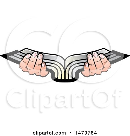 Clipart of a Pair of Hands Holding an Open Silver Book - Royalty Free Vector Illustration by Lal Perera