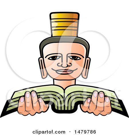 Clipart of a Person Holding a Book - Royalty Free Vector Illustration by Lal Perera