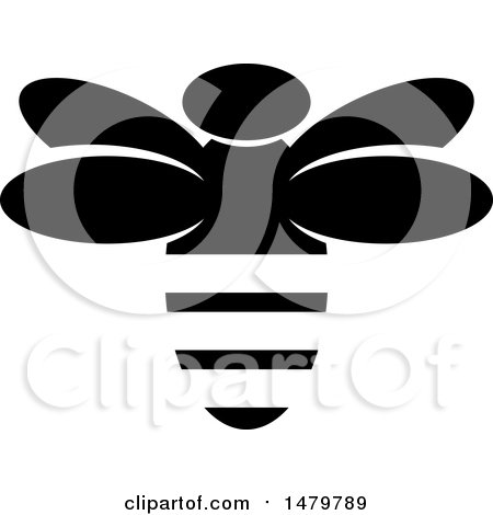 Clipart of a Black and White Bee - Royalty Free Vector Illustration by Lal Perera