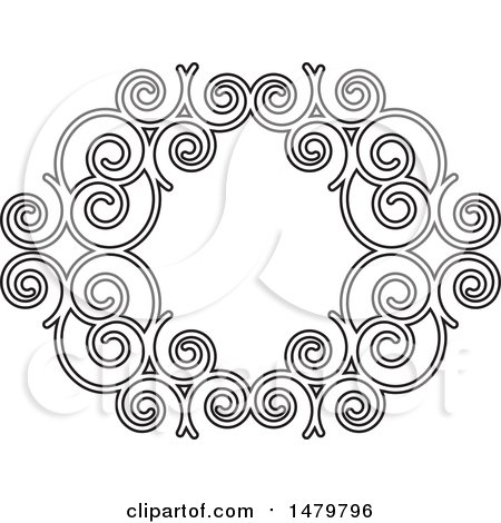 Clipart of a Black and White Spiral Frame Design Element - Royalty Free Vector Illustration by Lal Perera