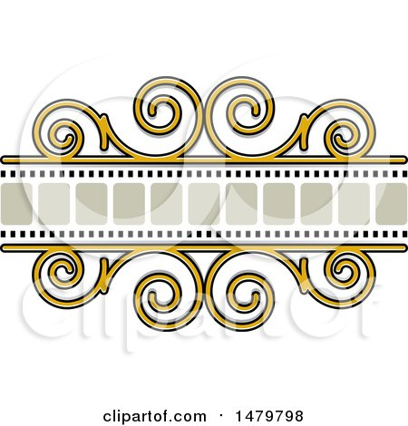 Clipart of a Spiral and Film Strip Frame Design Element - Royalty Free Vector Illustration by Lal Perera