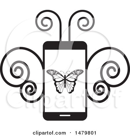 Clipart of a Black and White Smart Phone with a Butterfly - Royalty Free Vector Illustration by Lal Perera