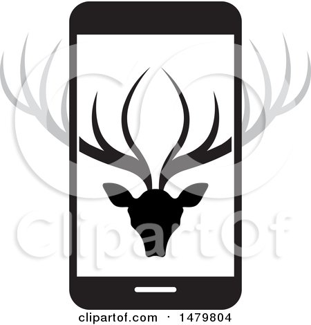 Clipart of a Deer Head with Antlers on a Smart Phone - Royalty Free Vector Illustration by Lal Perera