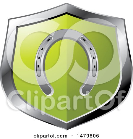 Clipart of a Silver and Green Horseshoe Shield - Royalty Free Vector Illustration by Lal Perera
