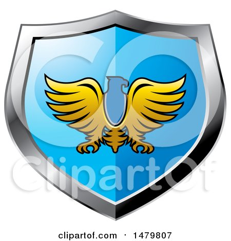 Clipart of a Silver and Blue Eagle Shield - Royalty Free Vector Illustration by Lal Perera
