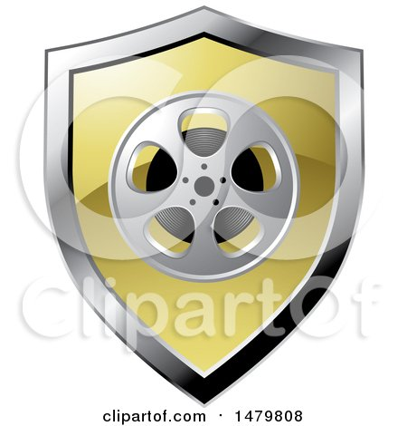 Clipart of a Silver and Gold Film Reel Shield - Royalty Free Vector Illustration by Lal Perera