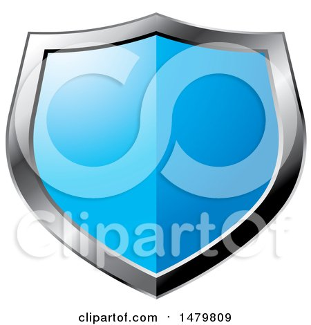 Clipart of a Silver and Blue Shield - Royalty Free Vector Illustration by Lal Perera