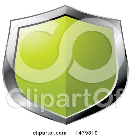 Clipart of a Silver and Green Shield - Royalty Free Vector Illustration by Lal Perera