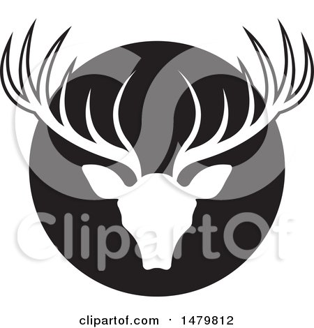 Clipart of a White Silhouetted Deer Buck with Antlers over a Black Circle - Royalty Free Vector Illustration by Lal Perera