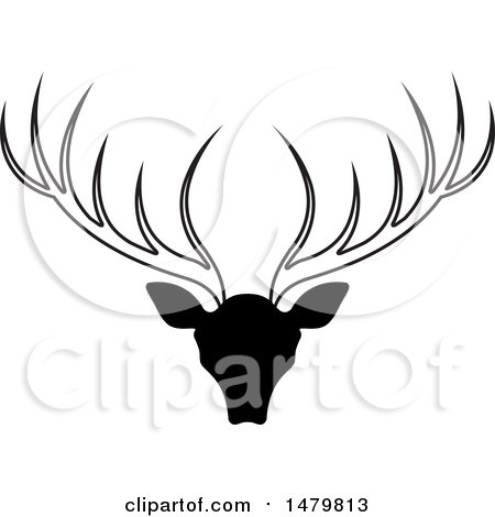 Clipart of a Black and White Deer Buck with Antlers - Royalty Free Vector Illustration by Lal Perera